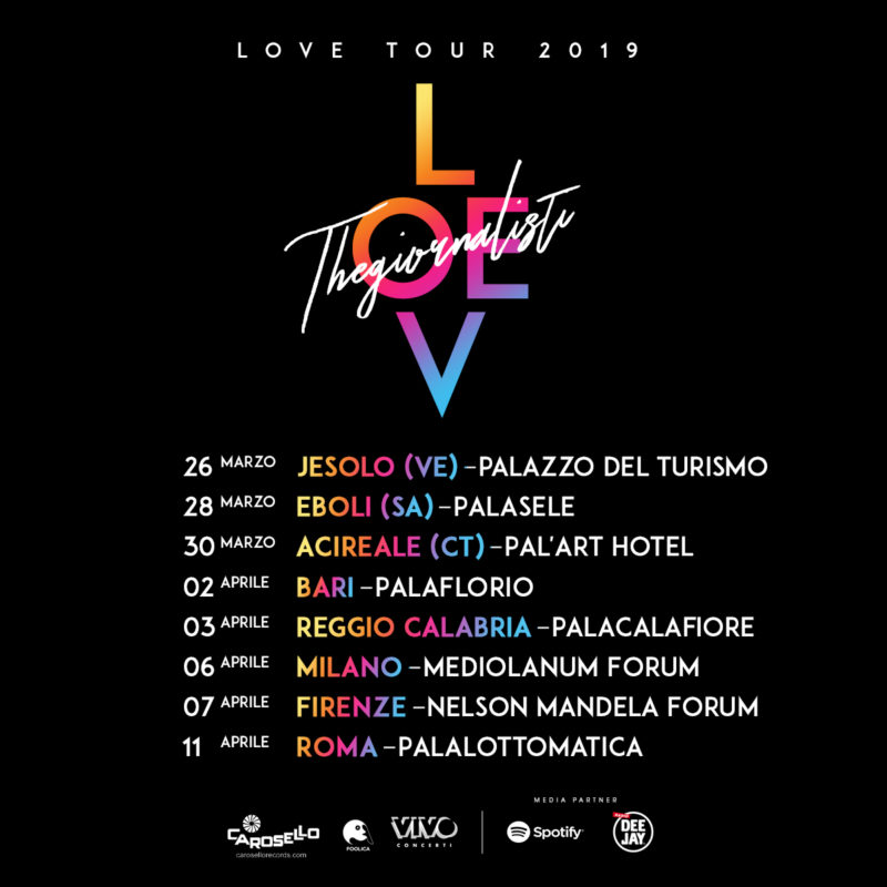 love thegiornalisti cd  THEGIORNALISTI: Tornano dal vivo nel 2019! Il LOVE tour continua ...